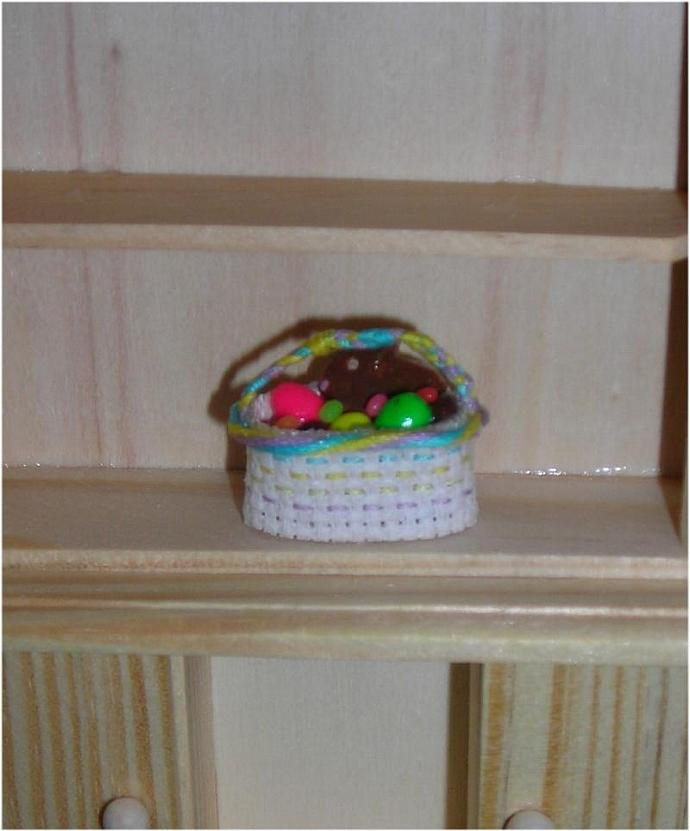 Filled Oval Easter Basket in One Inch Dollhouse Scale