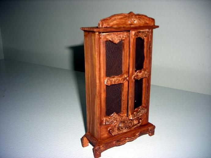 Rustic Carved-look Hutch in One Inch Dollhouse Scale