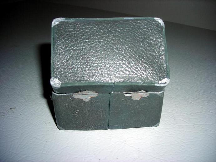 Gray Leather Memory Trunk in One Inch Scale