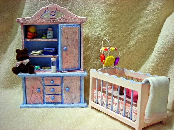 Baby Talia With Nursery Furniture in One Inch Scale