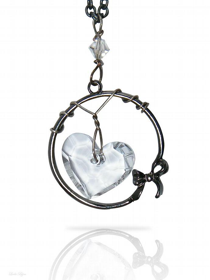 Silver Heart Necklace  - White Swarovski Crystal Silver Plated