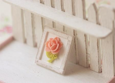 Dollhouse Miniature 1/12th Scale Pink Shabby Chic Framed Rose Decoration