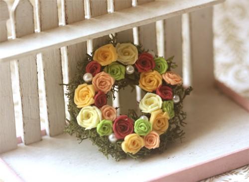 Dollhouse Miniature 1/12 Summer Rose Wreath