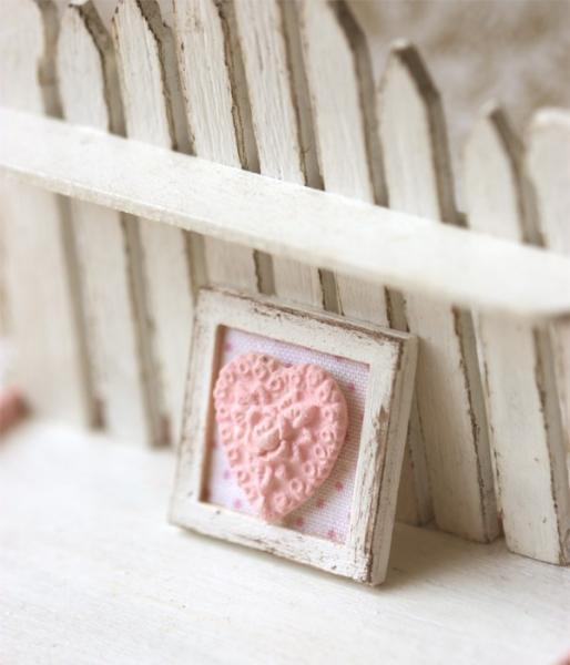 Dollhouse Miniature 1/12th Scale Pink Shabby Chic Framed Applique Decoration