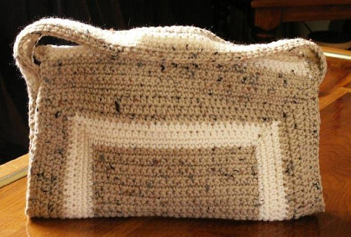 OOAK - earth toned crochet purse with short strap handle