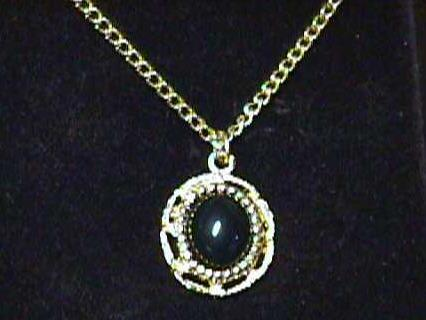"Vintage - 16"" Black Cabochone Necklace"