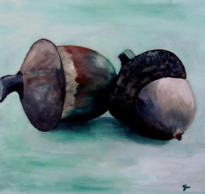 Oak Acorns - Framed Original Oil Painting