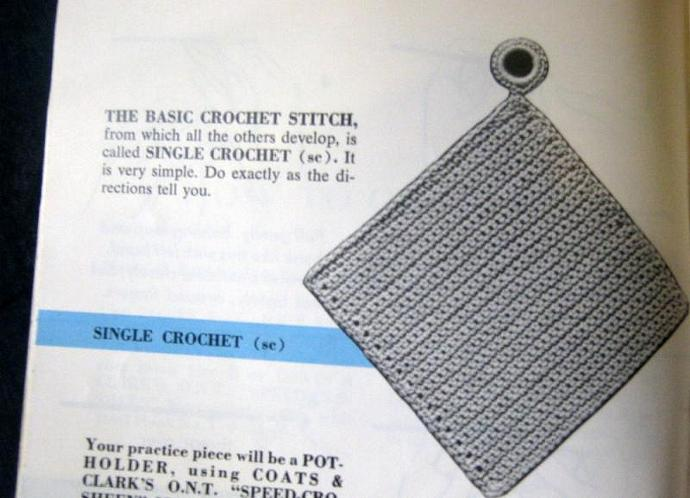 Learn to Crochet  Coats and Clark Book 210-B Vintage Book