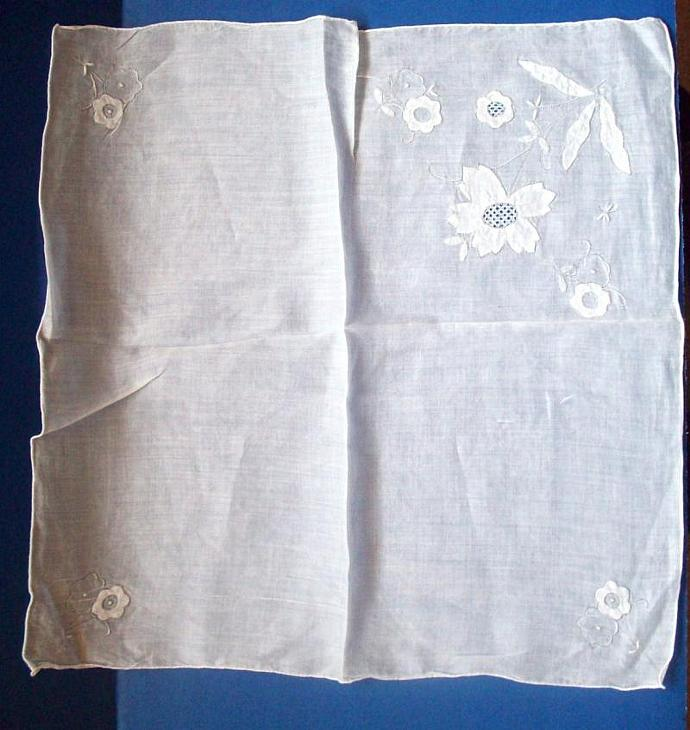 Vintage - Hanky Embroidered White Appliqued Floral Sheer New