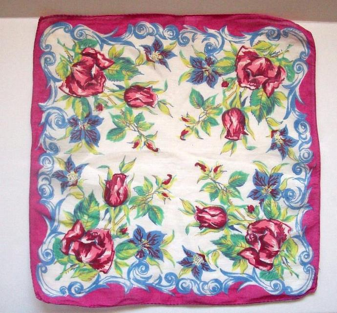 Vintage - Hanky Floral Purples Blues Greens