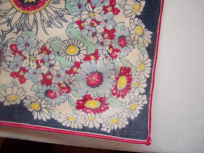 Vintage - Hanky Summer Flowers Navy Blue and Red