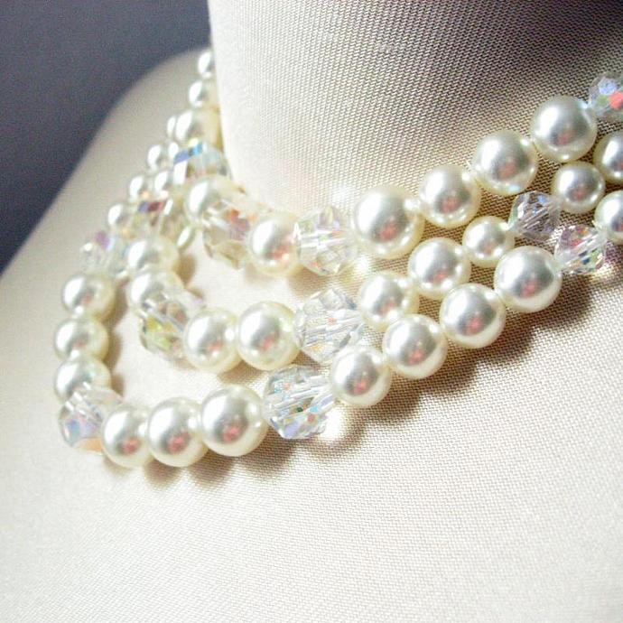 Quality 50s Faux Pearl & Crystal 3-Strand Necklace