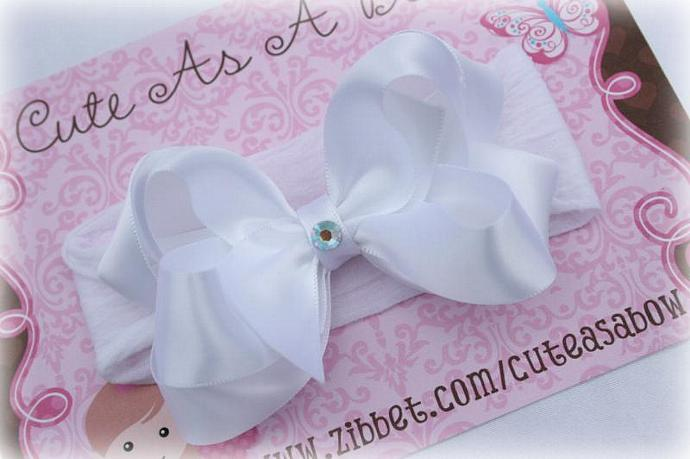 DOUBLE LAYERED SATIN BOW WITH BLING