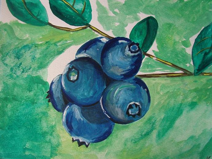 Native Blueberry - Framed Original Painting