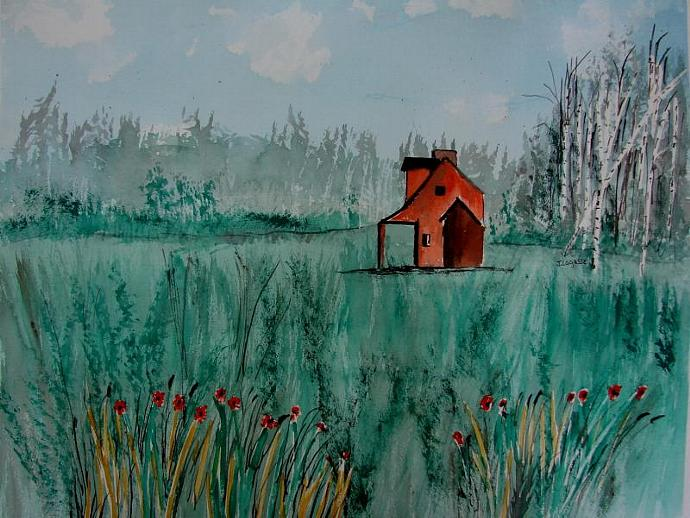 Orange House-Original Watercolor Painting