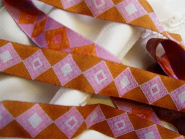 Jacquard Ribbon Trim Pink/Burnt Orange Diamonds Asian Ethnic Tribal Unique
