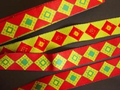 Jacquard Ribbon Trim Red/Green Diamonds Asian Ethnic Tribal