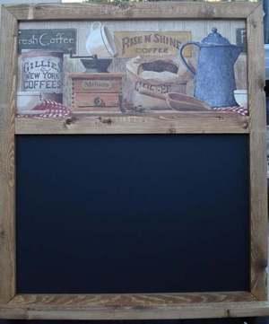 OLD FASHION COFFEE CHALK BOARD WITH CHALK TRAY