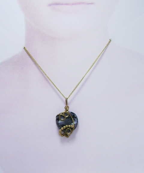 Wire-Wrapped Black Labradorite Gemstone Pendant