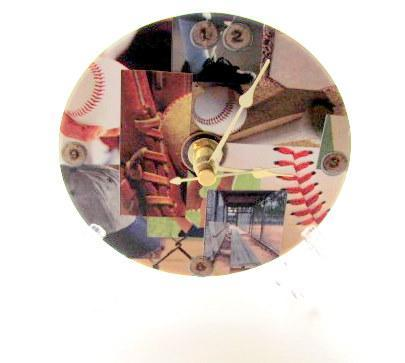 Baseball Collage CD Upcycled Clock