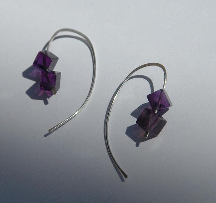 Amethyst Cube Earrings
