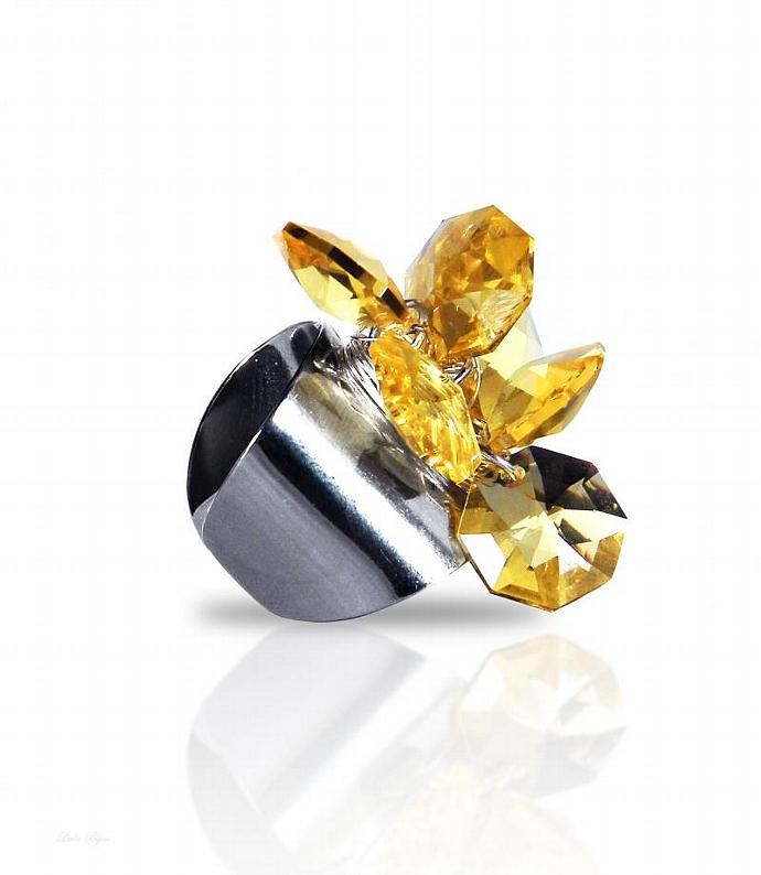 Eos Ring - Light Topaz Swarovski Crystal Silver Plated Yellow