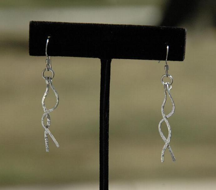 Dangling Threads Fine Silver Wire Earrings