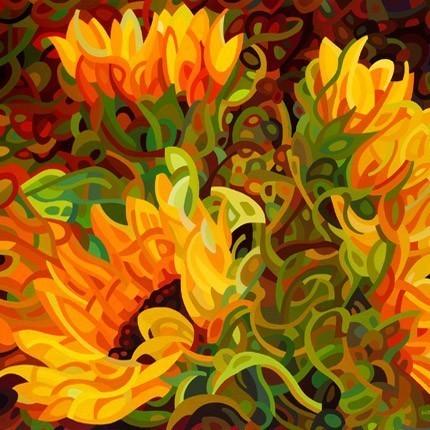 Abstract Fine Art Print - Four Sunflowers