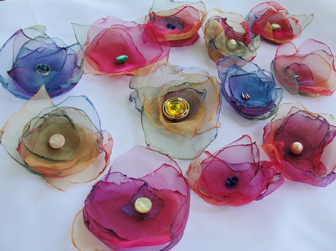 Flame Fashioned Organza Flowers