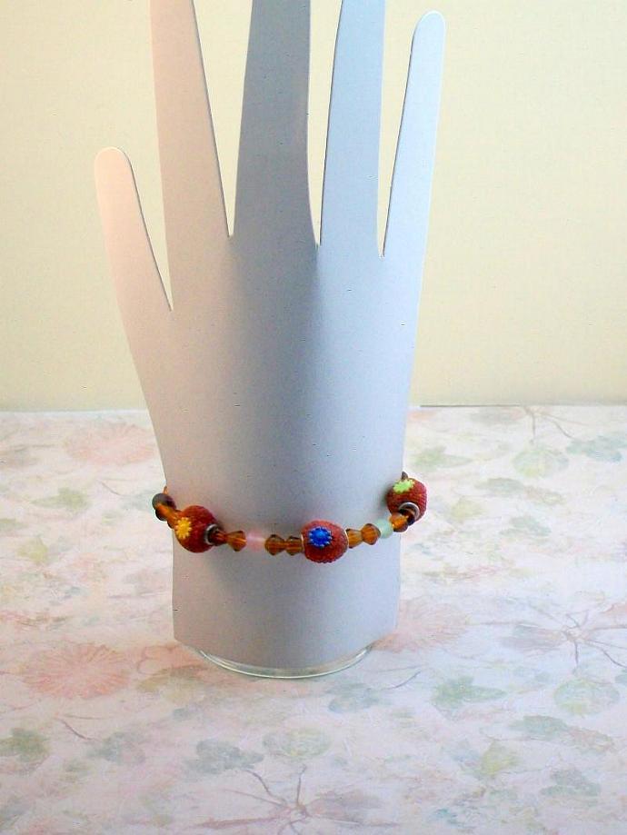 Handmade Topaz Beaded Bracelet with Multiple Colors