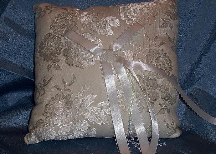 White Embossed Square Wedding Pillow
