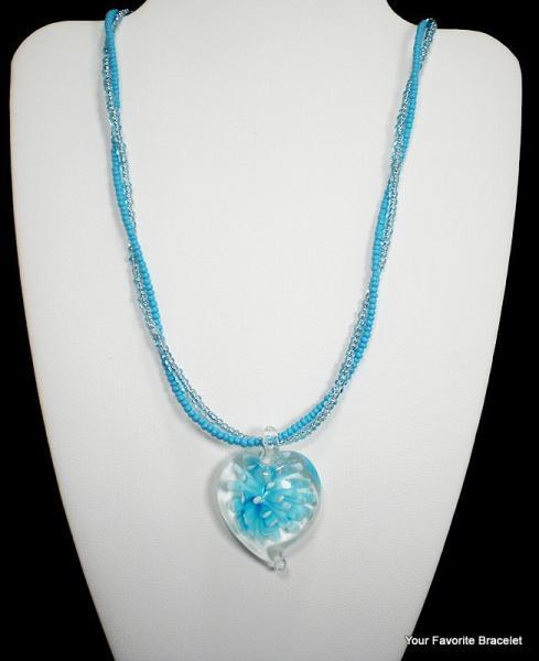 Blue Flower Heart Seed Bead Necklace