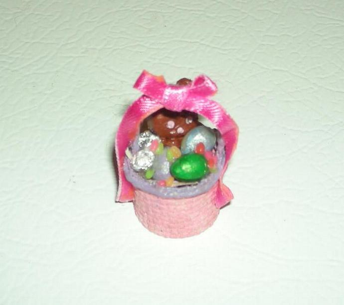 Pink and Lavendar Easter Basket in One Inch Dollhouse Scale