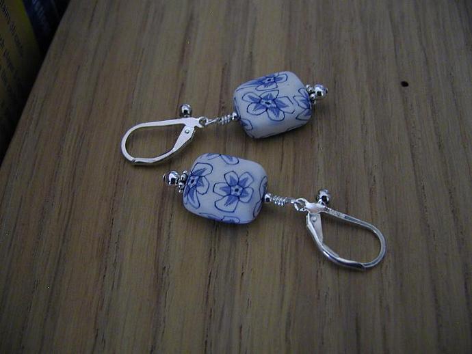 Blue and white Bandana Earrings