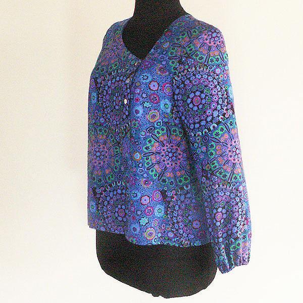 Blue Millefiore Print Blouse, Size S, M, L