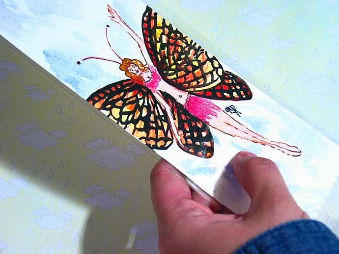 Butterfly Fairy watercolor bookmark original artwork NOT A PRINT