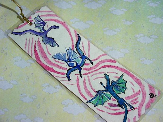 Dancing Dragons  Bookmark HANDPAINTED watercolor