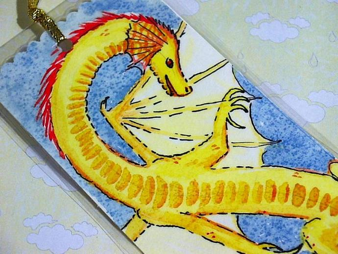 Curling Gold Dragon in Flight  Bookmark HANDPAINTED watercolor