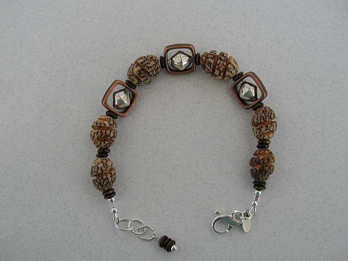Handmade Silver/Bronze/Nut Bracelet