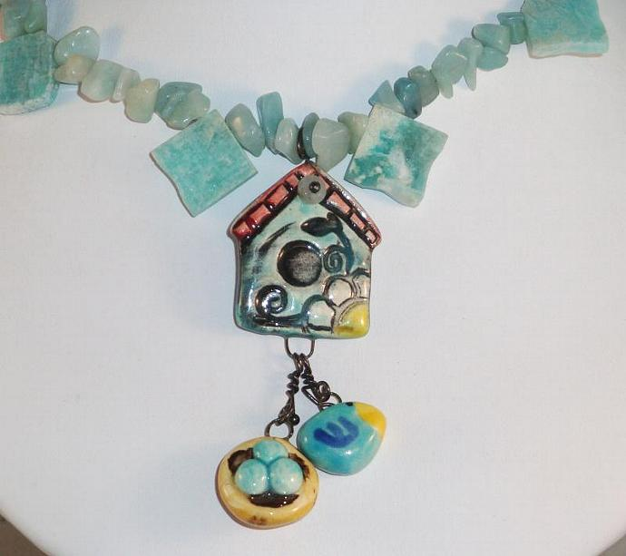 Whimisical Bird House Necklace