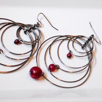 Multiple Layered Black hoop Earrings with Maroon Beads