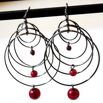 Multiple Layered Black hoop Earrings with Maroon Beads