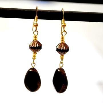 Onyx Dark Brown Semi Precious Beaded Earrings