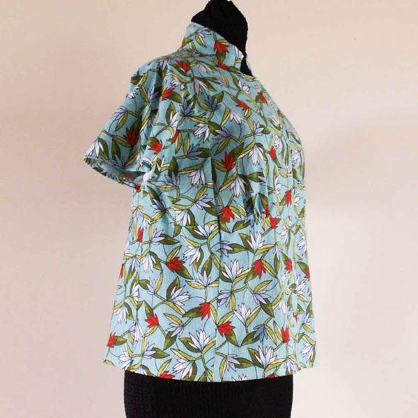 Aqua  Lotus Flower Button Front Blouse, Size 16