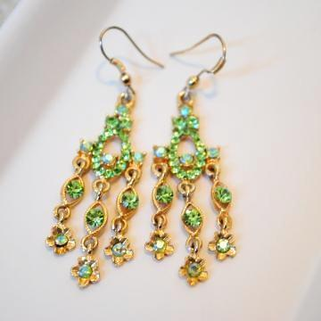 Olive Green RhineStone Chandelier Earrings set on an antique frame
