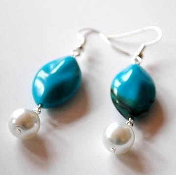 Turquoise Bead and White Glass Pearl Earrings