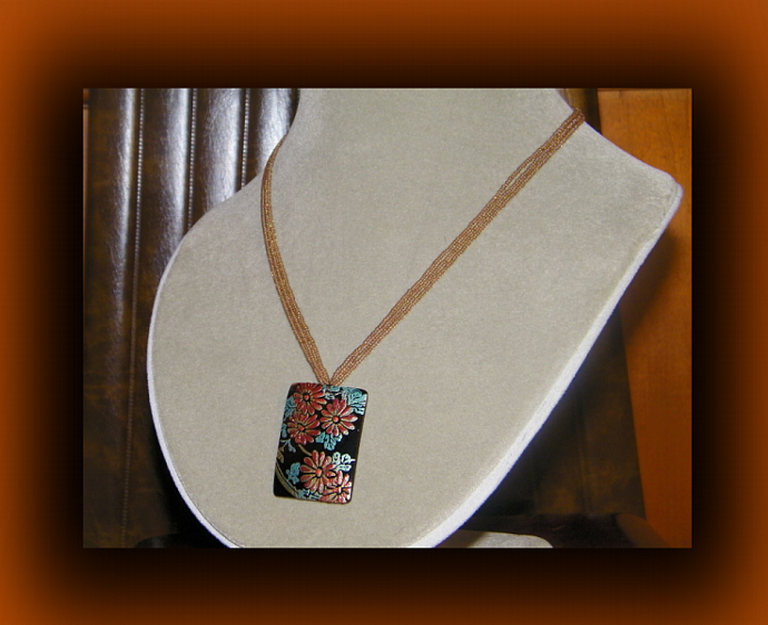 Vintage Style Brown Resin Necklace w/Floral Accent