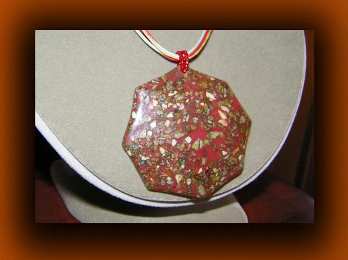 Umbrella Shaped Mosaic Limestone Pendant Necklace