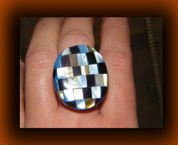 Checkered Style (Mosaic) Adjustable Shell Ring