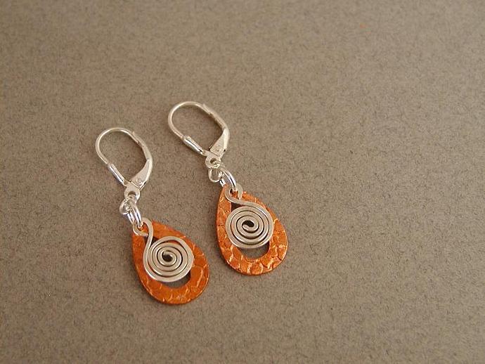Copper/Silver Teardrop Earrings